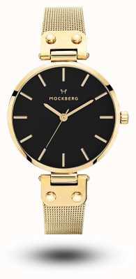 Mockberg Livia Noir Gold PVD Plated Mesh Black Dial MO1603