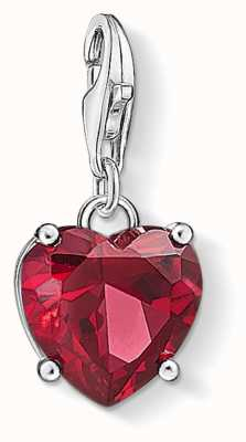 Thomas Sabo Heart With Red Stone Sterling Silver Charm 1566-011-10
