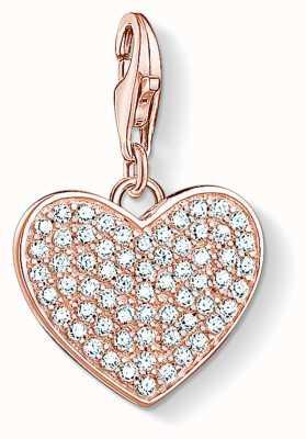 Thomas Sabo Gold Plated Heart Pavé Charm 1569-416-14