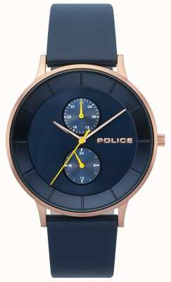 Police Mens Berkeley Blue Leather Strap Watch 15402JSR/03