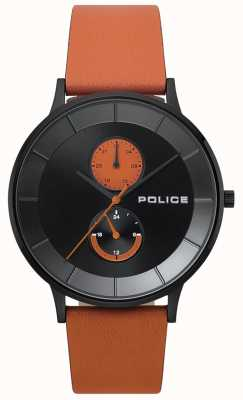 Police Mens Berkeley Orange Leather Strap Watch 15402JSB/02