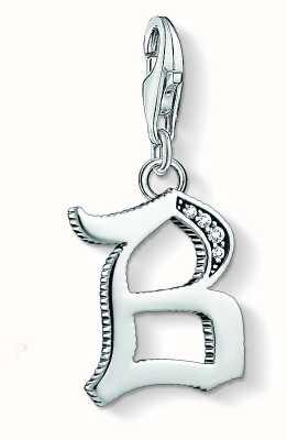 Thomas Sabo Letter B Charm Pendant Sterling Silver Blackened Zirconia 1582-643-21