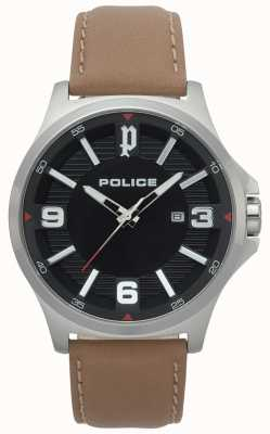 Police Mens Clan Light Brown Leather Watch 15384JS/02