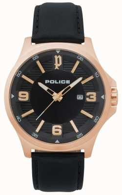 Police Mens Clan Black Leather Watch 15384JSR/02
