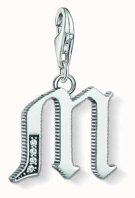 Thomas Sabo Letter M Pendant Sterling Silver Blackened Zirconia 1593-643-21
