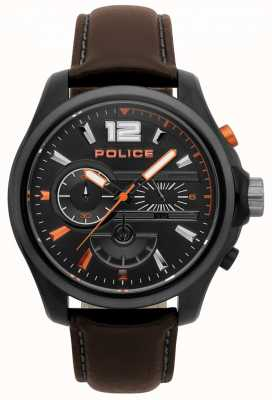 Police Mens  Denver Dark Brown Leather Watch 15403JSBU/02