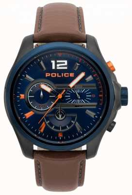Police Mens Denver Brown Leather Strap Watch 15403JSUBL/03