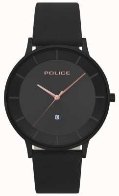 Police Mens Fontana Black Leather Black Dial Watch 15400JSB/02