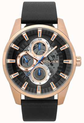 Police Mens Stamford Black Leather Skeleton Dial Watch 15409JSR/02
