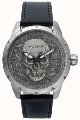 Police Mens Mystic Skull Dial Black Leather Watch 15397JS/57
