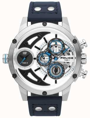 Police Mens Scythe Blue Leather Silver White Dial Watch 15406JS/04