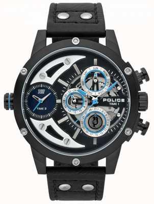 Police Mens Scythe Black Leather Black Dial Watch 15406JSB/02