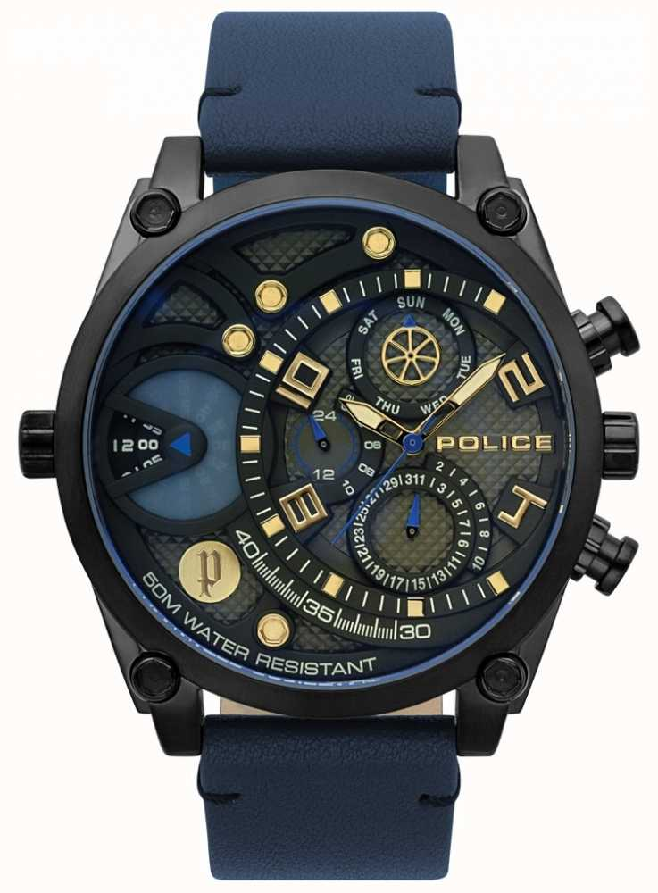 men newspaper watches fashion leather blue watch for analogue wala