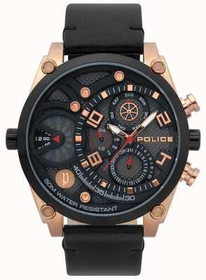 Police Mens Vigor Black Leather Strap Watch 15381JSRB/61