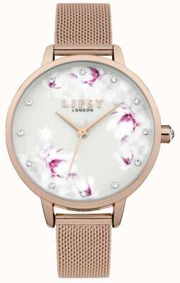 Lipsy Womens Rose Gold Mesh Flower Dial Watch LP577