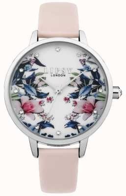 Lipsy Womens Pink Strap Floral Dial Watch LP573