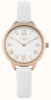 Lipsy Womens White Strap Rose Gold Case Watch LP579