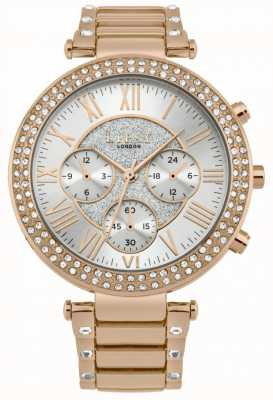 Lipsy Womens Rose Gold Stone Set Chronograph Watch LP580