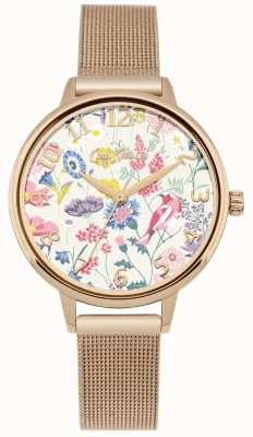 Cath Kidston Womens Floral Dial Rose Gold Mesh Watch CKL051RGM