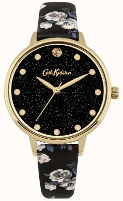 Cath Kidston Womens Glittery Island Bunch Black Strap Watch CKL056BG