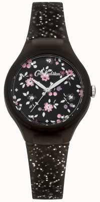 Cath Kidston Womens Black Silicone Silver Glitter Watch CKL048B