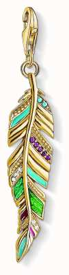 Thomas Sabo Gold Plated Sterling Silver Ethnic Feather Ceramic Stone Set Y0033-471-7