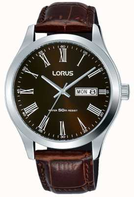Lorus Brown Leather Strap Brown Dial Date & Day Display RXN51DX9