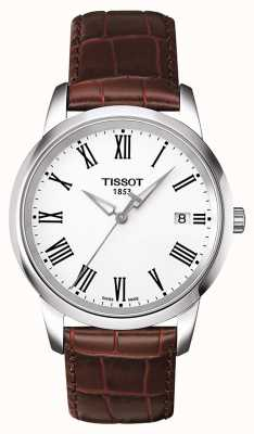 Tissot Mens Classic Dream Brown Leather Strap White Dial T0334101601301