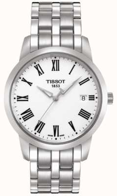 Tissot Mens Classic Dream Stainless Steel Bracelet White Dial T0334101101301