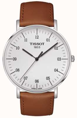Tissot Mens Everytime Large White Dial Brown Leather Strap T1096101603700