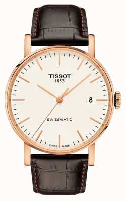 Tissot Mens Everytime Swissmatic Rose Gold Plated Leather Strap T1094073603100