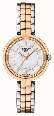 Tissot Womens Flamingo Rose Gold Plated MOP Dial Two Tone Bracelet T0942102211100