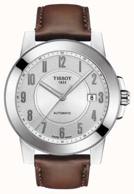 Tissot Mens gentleman Swissmatic Brown Leather Strap T0984071603200