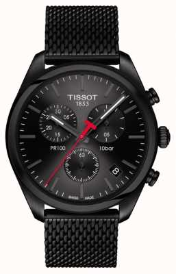 Tissot Mens PR100 Chronograph Black PVD Plated Bracelet T1014173305100