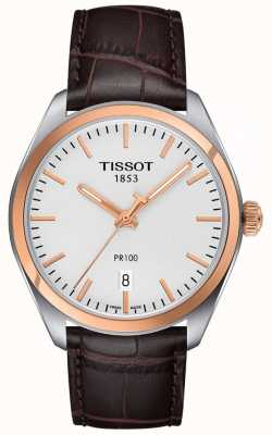 Tissot Mens PR100 Brown Leather Strap Rose Gold Plated T1014102603100