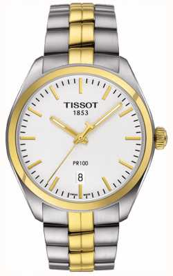 Tissot Mens PR100 Stainless Steel Gold Plated Bracelet Date T1014102203100