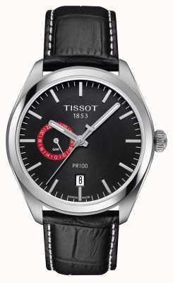 Tissot Mens PR100 Dual Time Black Dial Black Leather Strap T1014521605100