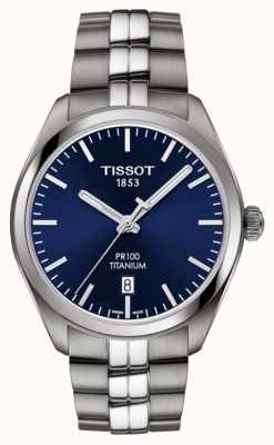 Tissot Mens PR100 Titanium Blue Dial Quartz T1014104404100