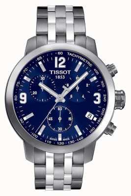 Tissot Men's PRC 200 Chronograph Blue Dial Two Tone T0554171104700