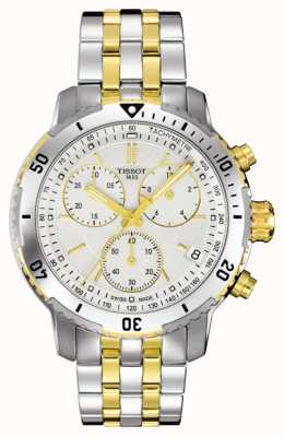 Tissot Mens PRS 200 Two Tone Chronograph Gold Plated Bracelet T0674172203101