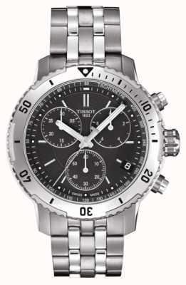 Tissot Mens PRS 200 Black Dial Chronograph Stainless Steel Bracelet T0674171105101