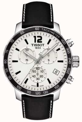 Tissot Mens Quickster Chronograph White Dial Black Leather Strap T0954171603700
