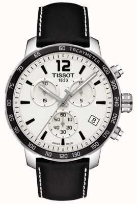 Tissot Men's Quickster Chronograph White Dial Black Leather Strap T0954171603700
