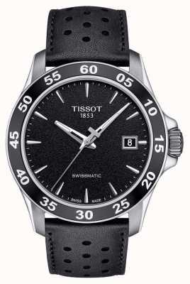 Tissot Mens V8 Swissmatic Black Dial Black Leather Strap T1064071605100