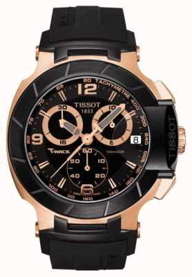 Tissot Mens T-Race Black Dial Rose Gold Plated Black Rubber Strap T0484172705706