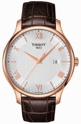 Tissot Mens Tradition Rose Gold Plated Silver Dial Brown Leather T0636103603800