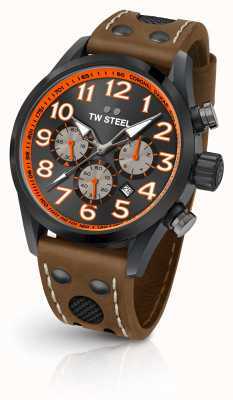 TW Steel Coronel Dakar Limited Edition Brown Leather Strap Black Dial TW975