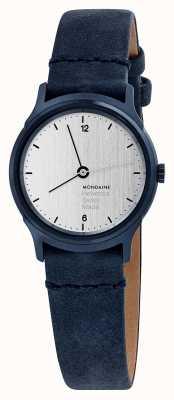 Mondaine Womens Helvetica No 1 Light Watch Blue Velour MH1.L1110.LD