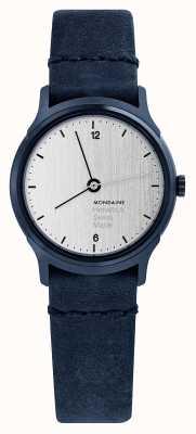 Mondaine Womens Helvetica No 1 Light Watch Blue Velour MH1.L1110.LD