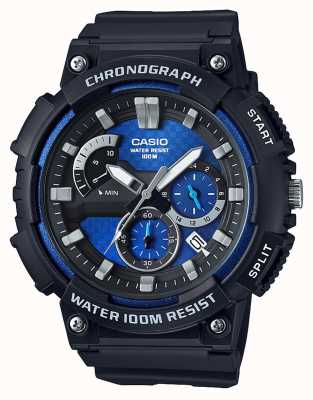 Casio Chronograph Black Resin Case Black Resin Strap Date Display MCW-200H-2AVEF